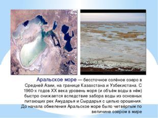 Аральское море— бессточное солёное озеро в Средней Азии, на границе Казахста