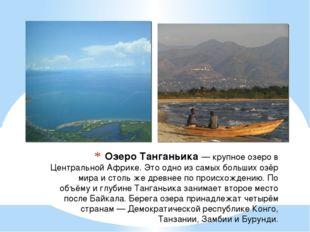Озеро Танганьика— крупное озеро в Центральной Африке. Это одно из самых боль
