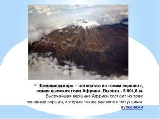 Килиманджаро– четвертая из «семи вершин», самая высокая гора Африки. Высота