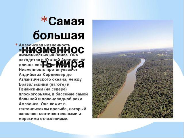Самая большая низменность мира Амазонская низменность является самой большой...