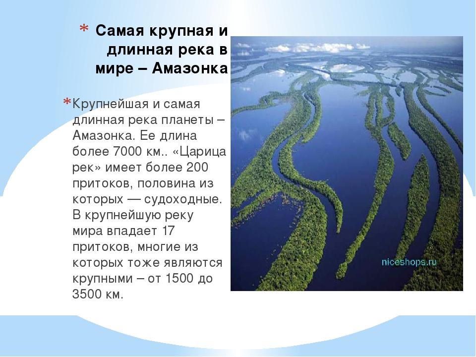 Самая крупная и длинная река в мире – Амазонка Крупнейшая и самая длинная рек...