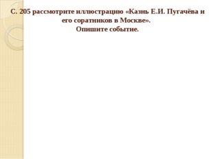 С. 205 рассмотрите иллюстрацию «Казнь Е.И. Пугачёва и его соратников в Москве