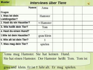 Interviews über Tiere Anna mag Hamster. Sie hat keinen Hund. Sie hat einen H
