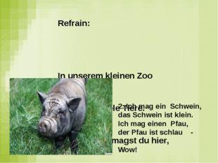Refrain: In unserem kleinen Zoo Wir haben viele Tiere. Und wo was magst du hi