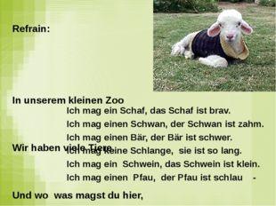 Ich mag ein Schaf, das Schaf ist brav. Ich mag einen Schwan, der Schwan ist z