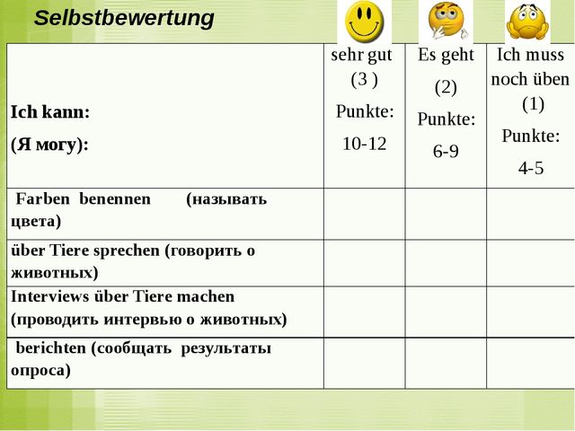 Selbstbewertung Ich kann: (Я могу): sehr gut(3 ) Punkte: 10-12 Es geht (2) Pu...