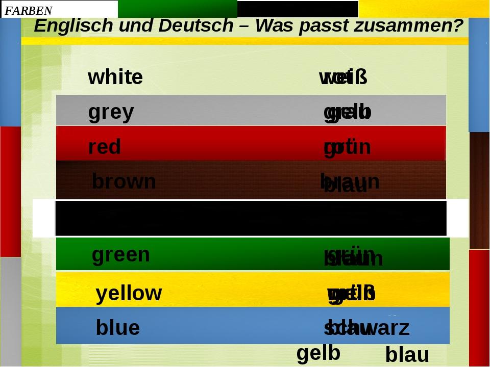 Englisch und Deutsch – Was passt zusammen? gelb braun weiß rot grün grau schw...