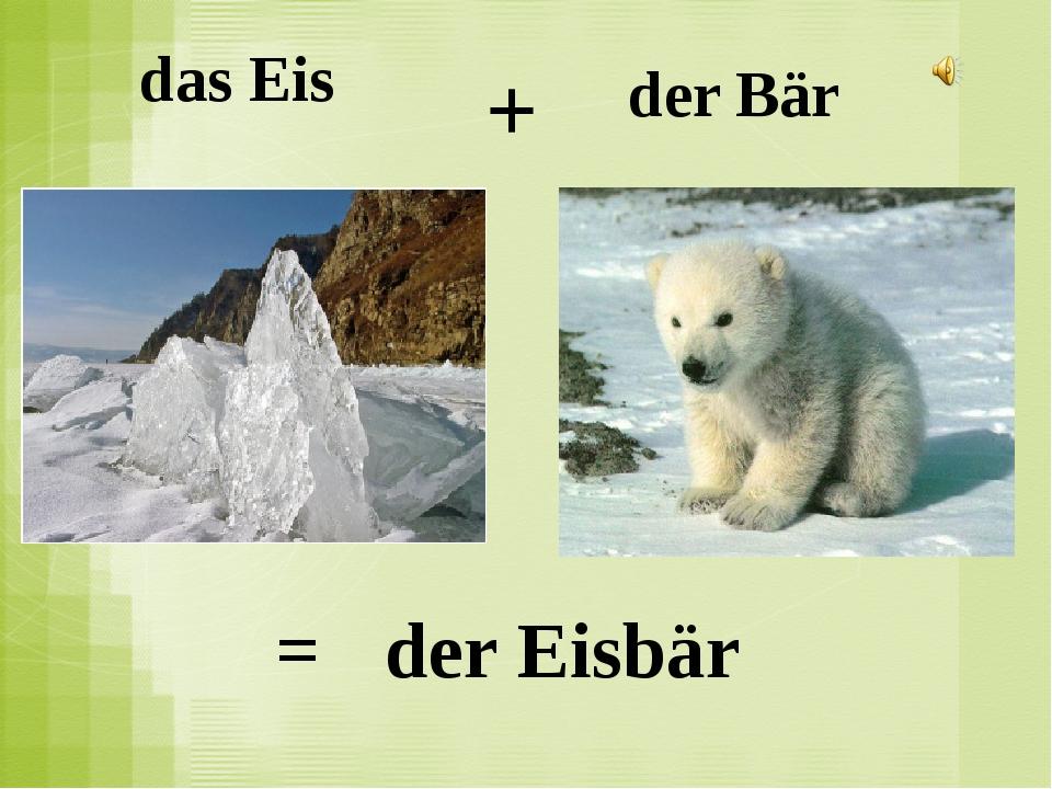 das Eis der Bär + = der Eisbär