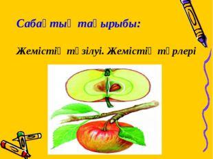 Сабақтың тақырыбы: Жемістің түзілуі. Жемістің түрлері