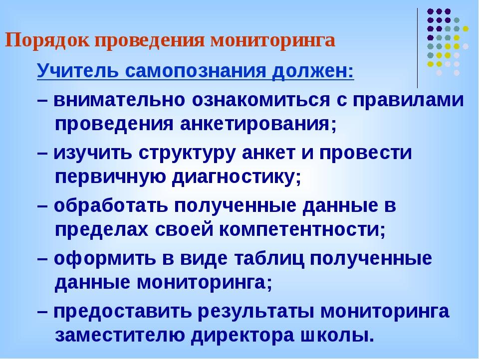 Порядок проведения мониторинга Учитель самопознания должен: – внимательно озн...