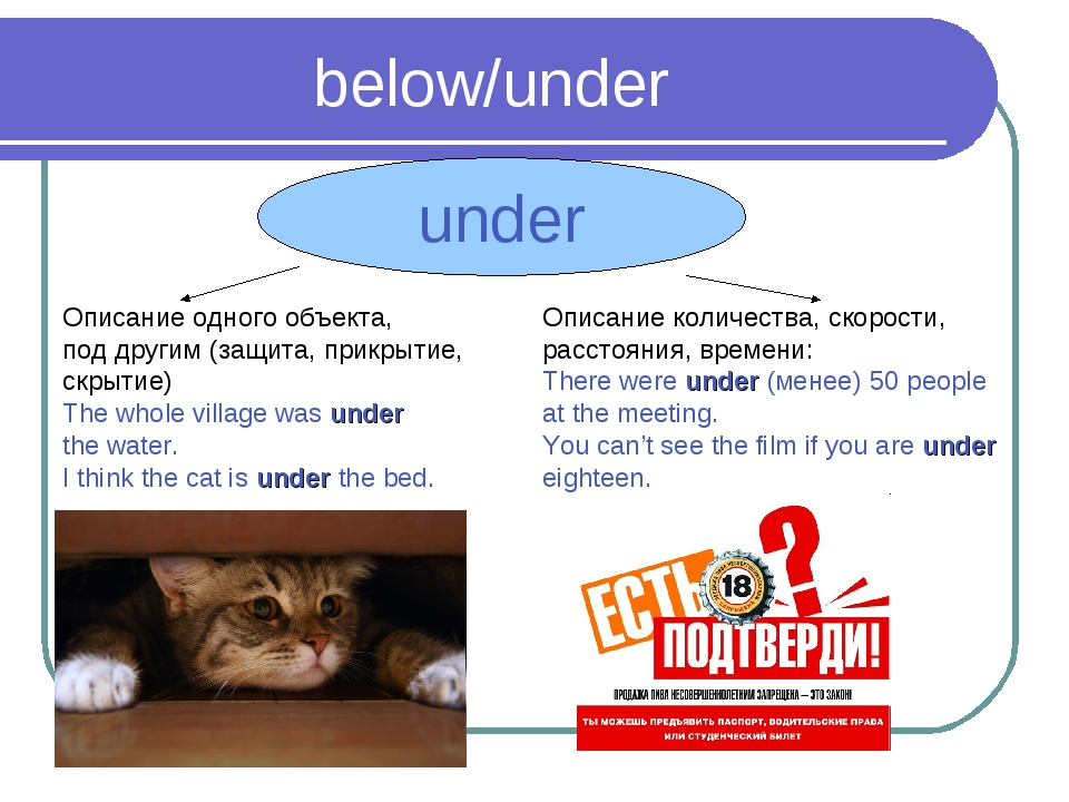 below/under under Описание одного объекта, под другим (защита, прикрытие, скр...
