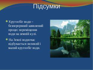 Підсумки Кругообіг води – безперервний замкнений процес переміщення води на з