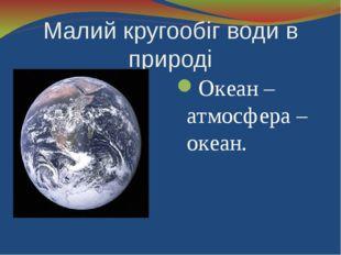 Малий кругообіг води в природі Океан – атмосфера – океан.