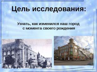 Цель исследования: Узнать, как изменился наш город с момента своего рождения