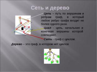 Сеть и дерево Цепь – путь по вершинам и рёбрам граф, в который любое ребро гр