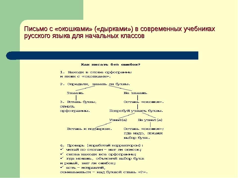 Письмо с «окошками» («дырками») в современных учебниках русского языка для на...