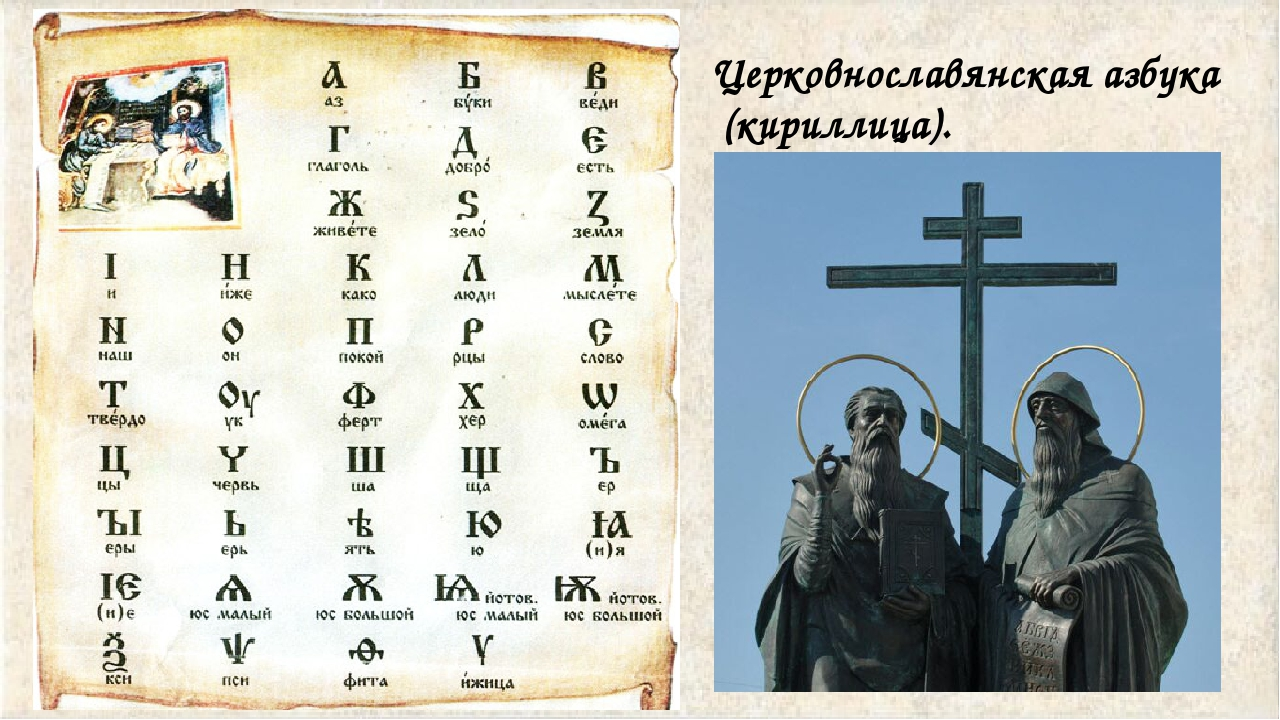 Церковнославянская азбука (кириллица).