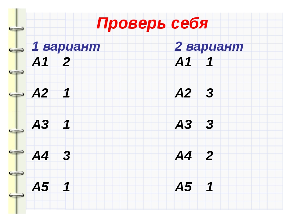 1 вариант A1 2 A2 1 A3 1 A4 3 A5 1 Проверь себя 2 вариант A1 1 A2 3 A3 3 A4 2...