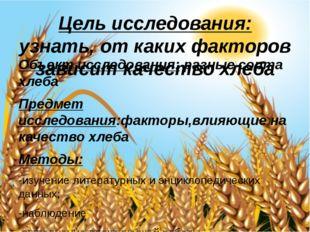 Цель исследования: узнать, от каких факторов зависит качество хлеба Объект ис
