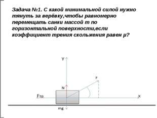 Задача №1. С какой минимальной силой нужно тянуть за верёвку,чтобы равномерно