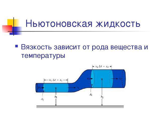 Ньютоновская жидкость Вязкость зависит от рода вещества и температуры
