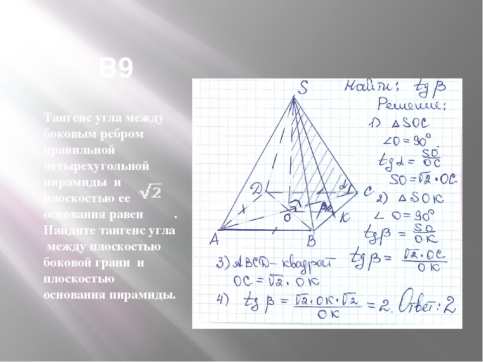 В9 Тангенс угла между боковым ребром правильной четырехугольной пирамиды и п...