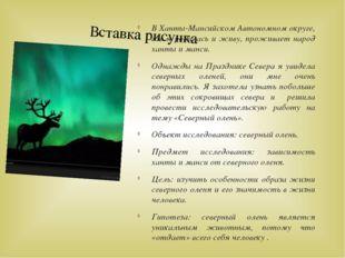 В Ханты-Мансийском Автономном округе, где я родилась и живу, проживает народ