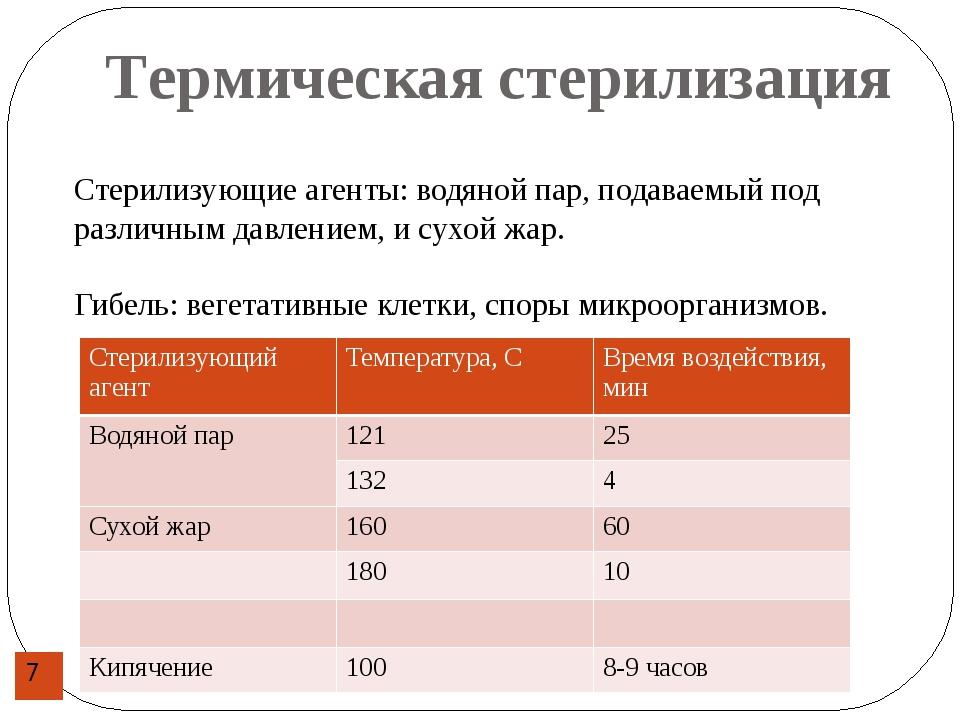 Термическая стерилизация Стерилизующие агенты: водяной пар, подаваемый под ра...