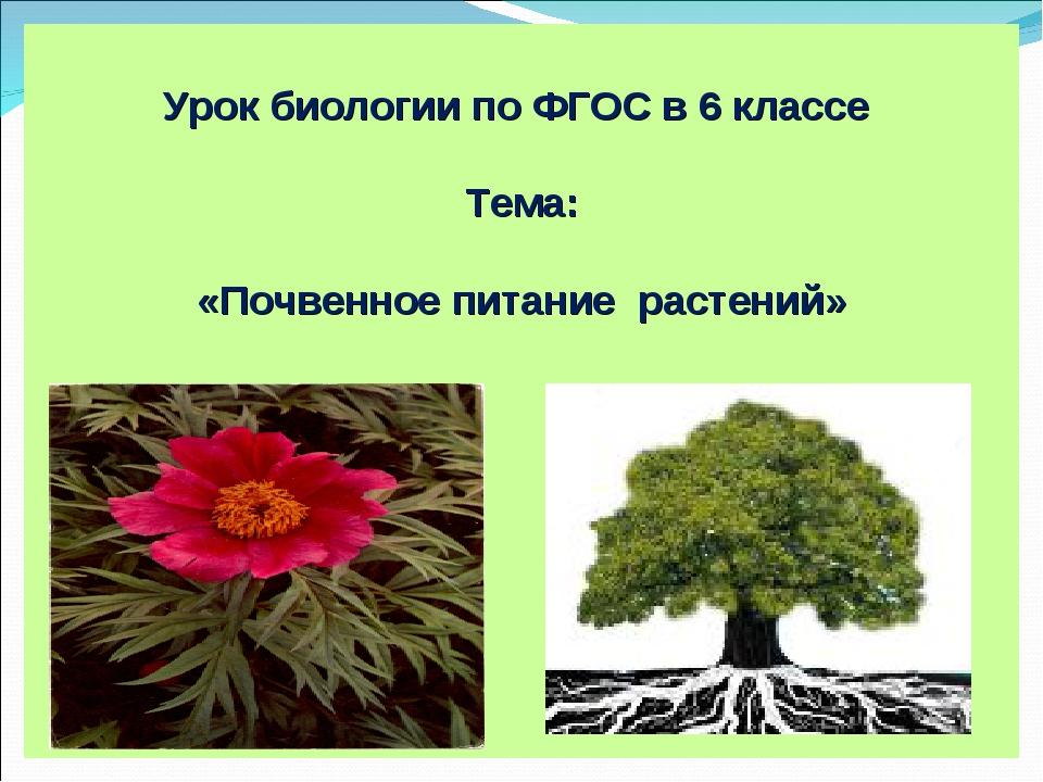 Урок биологии по ФГОС в 6 классе Тема: «Почвенное питание растений»