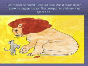 Лев тронул её лапой. Собачка вскочила и стала перед львом на задние лапки. Ле