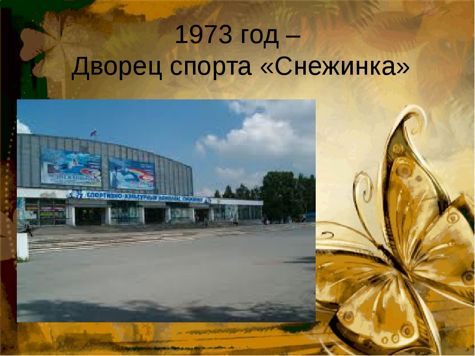 1973 год –  Дворец спорта «Снежинка»