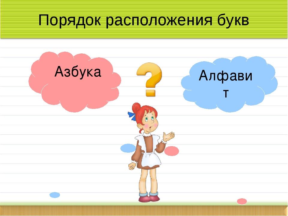 Порядок расположения букв Алфавит Азбука