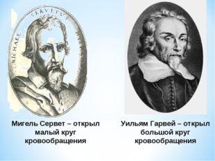 Мигель Сервет – открыл малый круг кровообращения Уильям Гарвей – открыл больш