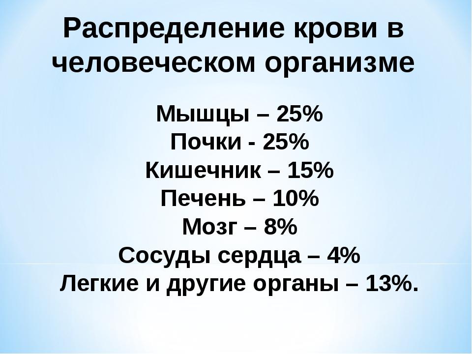 Распределение крови в человеческом организме Мышцы – 25% Почки - 25% Кишечник...