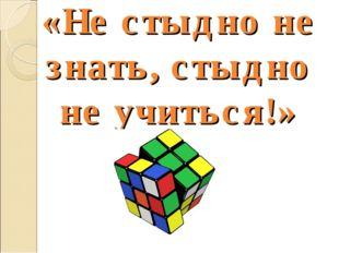 «Не стыдно не знать, стыдно не учиться!»