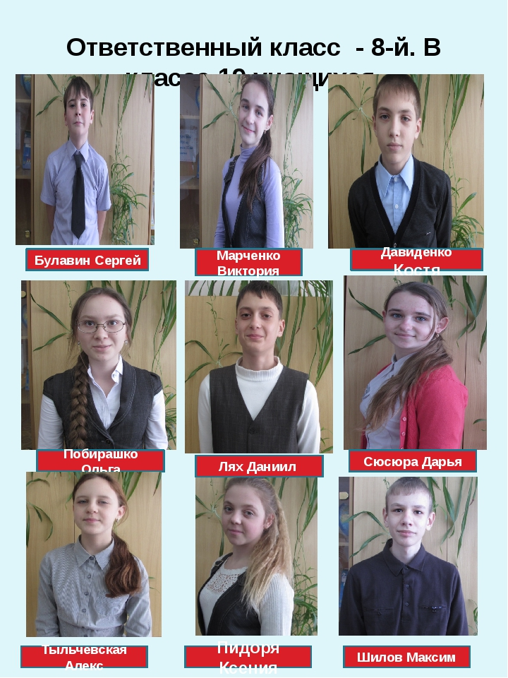 Ответственный класс - 8-й. В классе 19 учащихся. Булавин Сергей Марченко Викт...