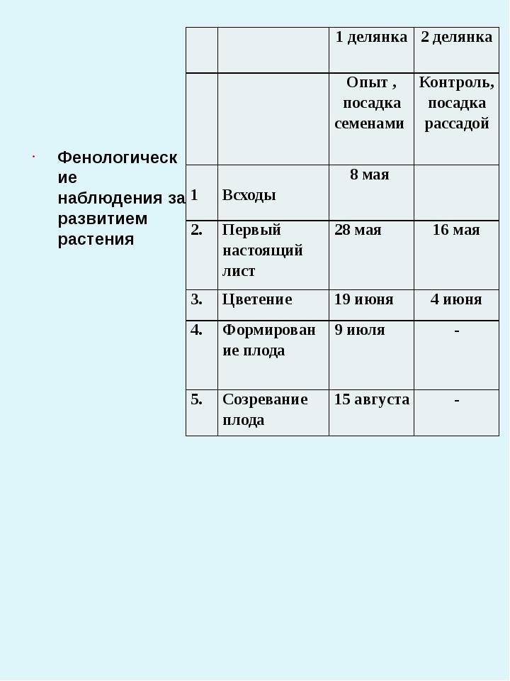 Фенологические наблюдения за развитием растения 1 делянка 2 делянка Опыт , п...