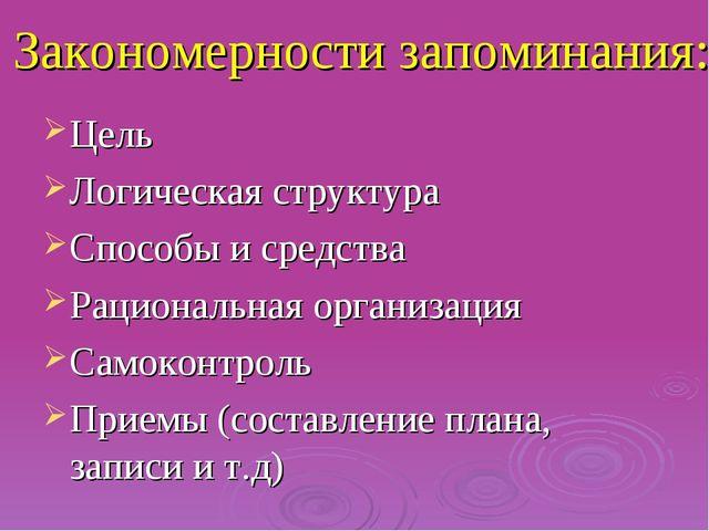 Закономерности запоминания: Цель Логическая структура Способы и средства Раци...