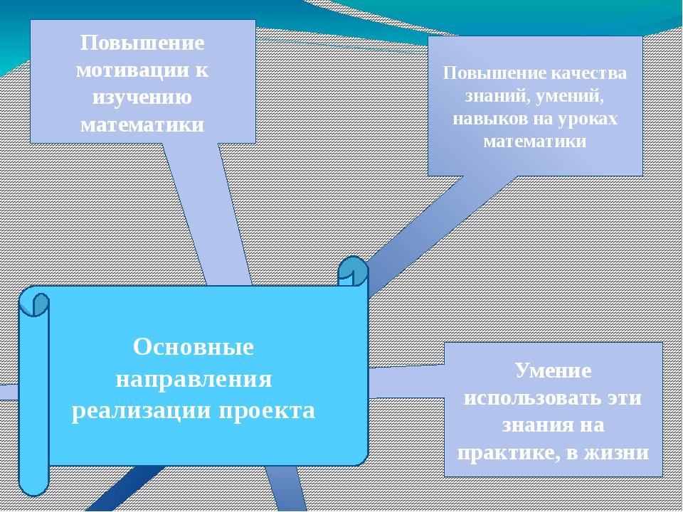 Повышение мотивации к изучению математики Повышение качества знаний, умений,...