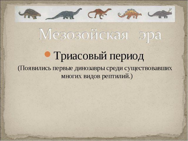 Триасовый период (Появились первые динозавры среди существовавших многих видо...