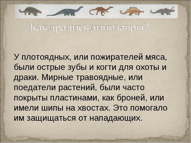 У плотоядных, или пожирателей мяса, были острые зубы и когти для охоты и драк...
