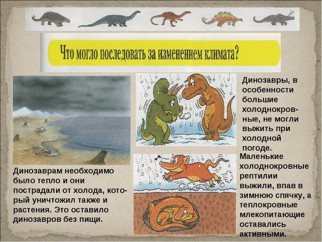 Динозаврам необходимо было тепло и они пострадали от холода, который уничтож...
