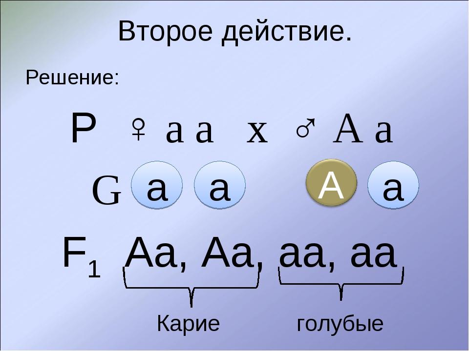 Второе действие. Решение: Р ♀ а а х ♂ А а G  F1 Аа, Аа, аа, аа Карие го...