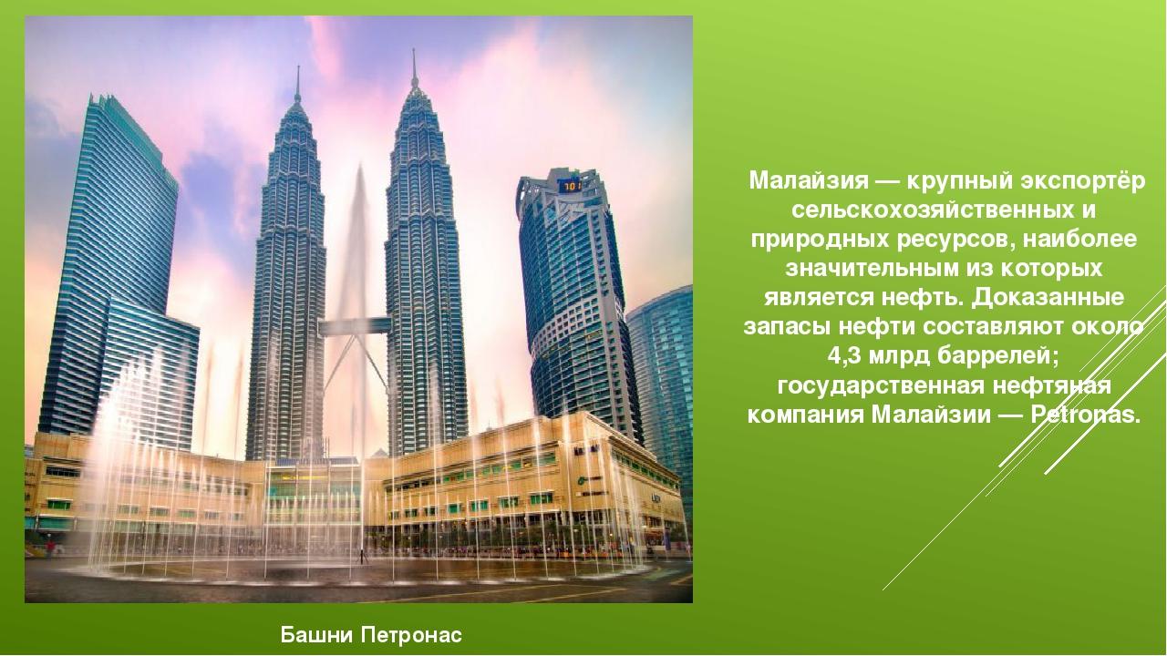 Малайзия — крупный экспортёр сельскохозяйственных и природных ресурсов, наиб...
