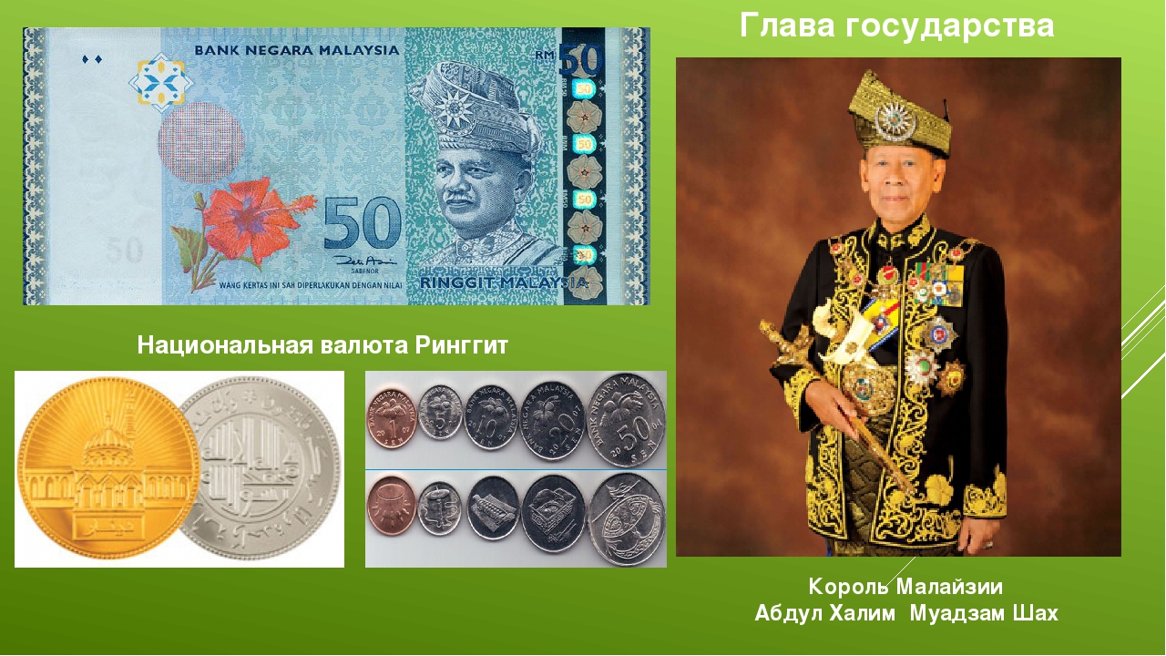 Национальная валюта Ринггит Король Малайзии Абдул Халим Муадзам Шах Глава го...