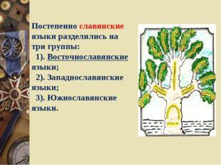 Постепенно славянские языки разделились на три группы: 1). Восточнославянские