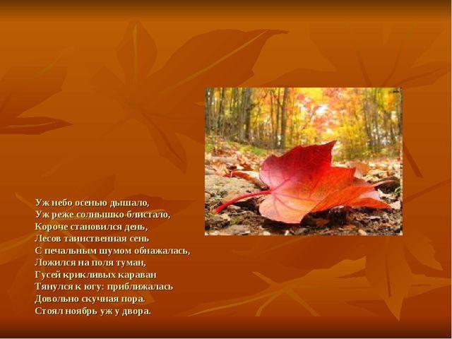 Уж небо осенью дышало, Уж реже солнышко блистало, Короче становился день, Ле...