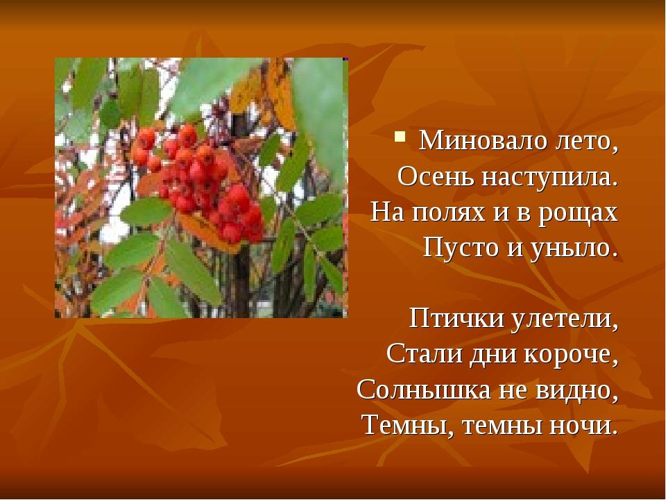 Миновало лето, Осень наступила. На полях и в рощах Пусто и уныло. Птички улет...