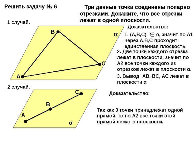 Решить задачу № 6 А В С α Три данные точки соединены попарно отрезками. Докаж...