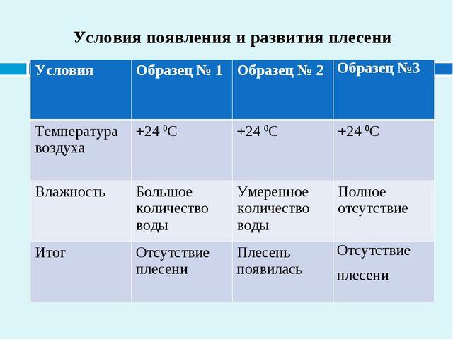 Условия появления и развития плесени УсловияОбразец № 1Образец № 2Образец...